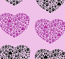 Dog Paws, Trails, Paw-prints, Heart - Black Purple by sitnica