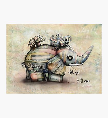 Upside Down Elephants Photographic Print