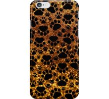 Dog Paws, Traces, Paw-prints, Glitter - Gold Black iPhone Case/Skin