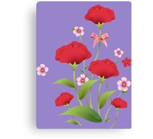 Red watercolor roses bunch Canvas Print