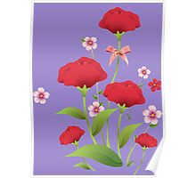 Red watercolor roses bunch Poster