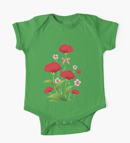 Red watercolor roses bunch One Piece - Short Sleeve