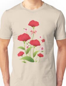 Red watercolor roses bunch Unisex T-Shirt