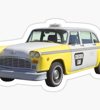 Yellow and White Checkered Taxi Cab Sticker
