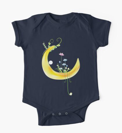 Cartoon moon and flowers One Piece - Short Sleeve