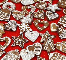 Christmas Gingerbread Cookies - Stars Hearts  by sitnica