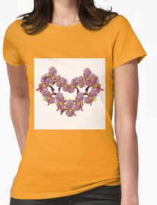 floral pattern with iris watercolor. Womens Fitted T-Shirt
