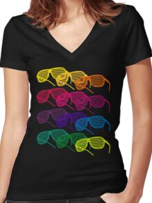 Glasses Women's Fitted V-Neck T-Shirt