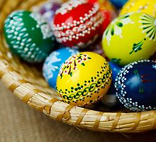 Painted Easter Eggs, Basket - Red Green Yellow  by sitnica
