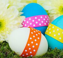 Painted Easter Eggs, Ribbons, Dots, Flowers by sitnica