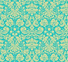 French Damask, Ornaments, Swirls - Blue Yellow  by sitnica