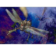 Two dragonfly-class aerial machines square off. Photographic Print