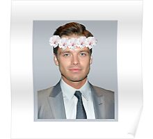 Sebastian Stan Flower Crown- Grey Poster