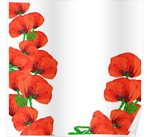 Watercolor garden floral poppy Poster