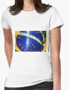 Brazilian Flag with Sun Behind. Womens Fitted T-Shirt