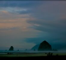 Haystack Rock in Morning Fog - Cannon Beach, Oregon by Missy Lamb