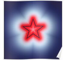 Red White and Blue Star Poster
