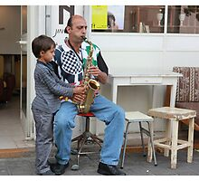 Sax lesson on the street by JudyBJ