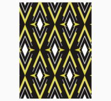 Scandinavian Aztec Pattern Black Yellow One Piece - Short Sleeve