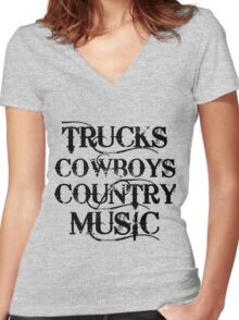 TRUCKS COWBOYS COUNTRY MUSIC Women's Fitted V-Neck T-Shirt