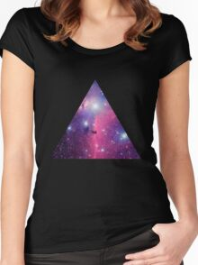 Purple Galaxy Triangle Women's Fitted Scoop T-Shirt