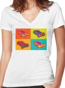 1964 Morgan Plus 4 Convertible Pop Art Women's Fitted V-Neck T-Shirt