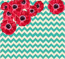 Aqua and Cream Chevron with Poppies by Greenbaby