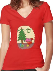 PiGgy is ready for Christmas! Women's Fitted V-Neck T-Shirt