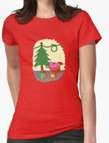 PiGgy is ready for Christmas! Womens Fitted T-Shirt