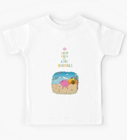 Keep calm and love animals! Kids Tee