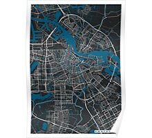 Amsterdam city map black colour Poster
