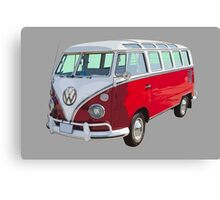 Red And White VW 21 window Mini Bus Canvas Print