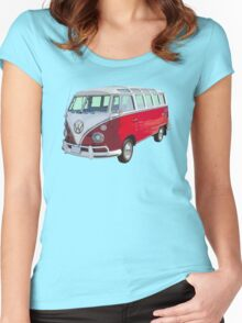 Red And White VW 21 window Mini Bus Women's Fitted Scoop T-Shirt
