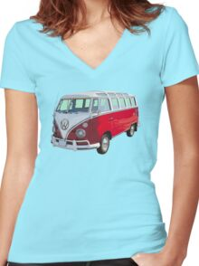 Red And White VW 21 window Mini Bus Women's Fitted V-Neck T-Shirt