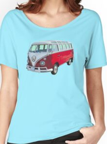 Red And White VW 21 window Mini Bus Women's Relaxed Fit T-Shirt