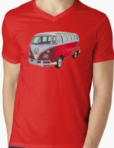 Red And White VW 21 window Mini Bus Mens V-Neck T-Shirt