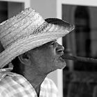 Old Cuban smoking large Cigar by buttonpresser