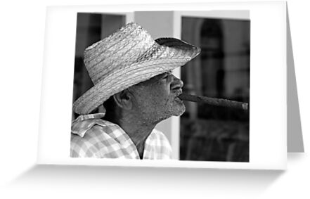 Old Cuban smoking large Cigar by buttonpresser