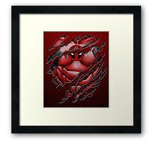 Red Ninja torn tee tshirt pencils color art Framed Print