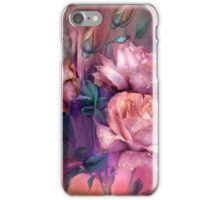 Raindrops On Peach Roses iPhone Case/Skin
