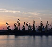 Odessa - Sunset in the Port by Nina Zhiltsova