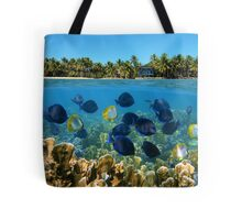 Shoal of fish in a coral reef and tropical shore horizon Tote Bag