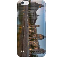 Reflections of the three graces at dusk, Liverpool iPhone Case/Skin