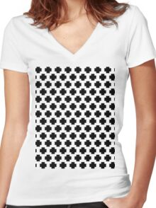 Black and White Simple Cross  Women's Fitted V-Neck T-Shirt