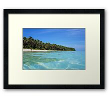Caribbean island shore with turquoise water Framed Print