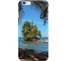 Coconut trees and a lush tropical islet iPhone Case/Skin