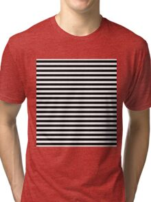 Black and White Simple Stripe Tri-blend T-Shirt
