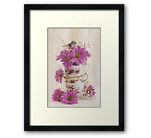Tea Cups And Daisies  Framed Print