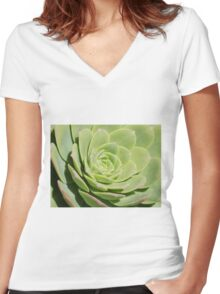 Succulent- Plant Women's Fitted V-Neck T-Shirt