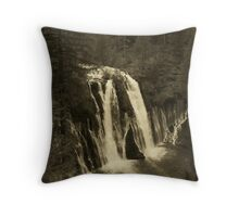 Burney Falls - Sepia Effect Throw Pillow